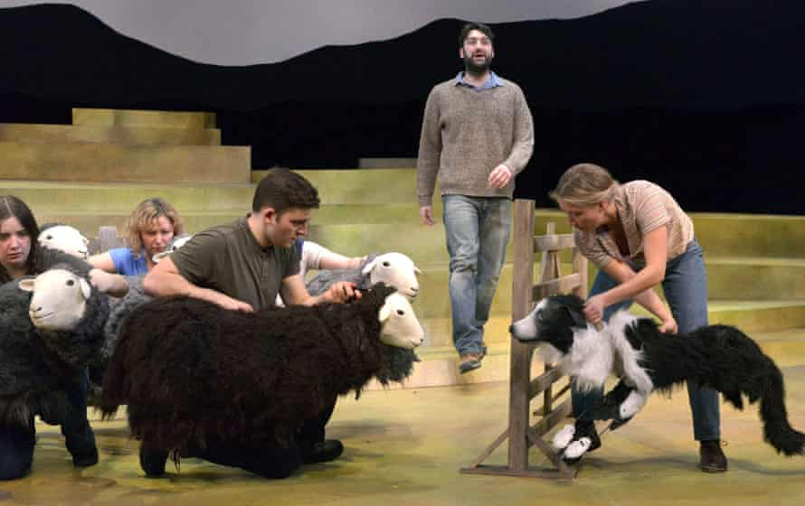Kieran Hill, centre, as James with community cast members as puppeteers in The Shepherd's Life.