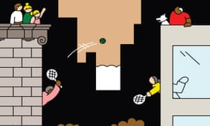 Illustration of people in facing tower blocks, playing tennis across divide