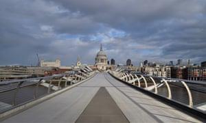 Millennium Bridge in London deserted on Wednesday.