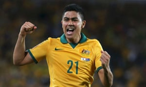 Massimo Luongo celebrates hitting the Socceroos' opener.