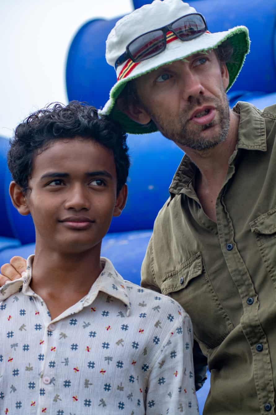 Actor Sarm Heng and director Rodd Rathjen on the set of Buoyancy.