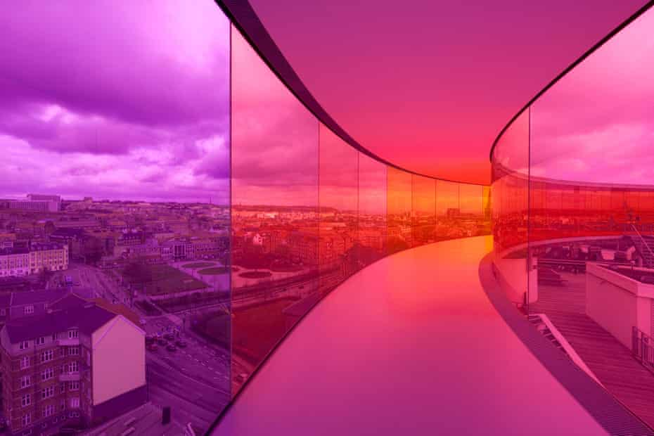 Interior of Your Rainbow Panorama by Olafur Eliasson, a floating rainbow walkway on top of ARoS Aarhus art museum in Denmark