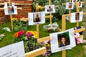 Burton-on-Trent, EnglandTemporary memorials outside Riverside church, in Staffordshire. There are currently 13 crosses outside the church for people that have died during lockdown, with most having died from coronavirus