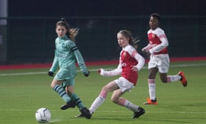 Maddy (left) and Laila (centre) during a training session of Arsenal's Under-12 academy footballers