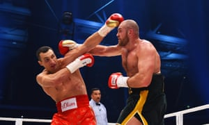 Tyson Fury's tactics and sheer size cause Wladimir Klitschko problems.