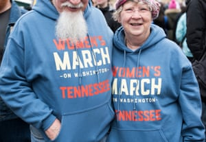 """Mark Thomson, age 70 and Lynda Thompson, age 69 from Tennessee """"We march because we all have rights being threatened in this country. It's necessary to reinforce that we're the majority."""""""