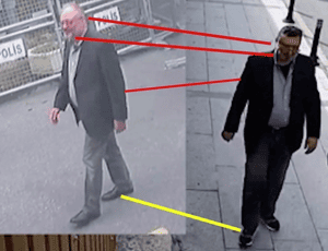 CCTV images of Khashoggi compared to Mustafa al-Madani who appears to be dressed up in his clothes .