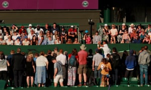 Spectators watching Paul Jubb during his first round match against Joao Sousa.