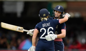Nat Sciver is embraced by Katherine Brunt as she reaches her 50 during the World Cup final against India in 2017. That evening they became girlfriends.