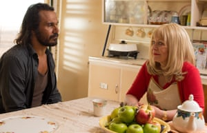 Aaron Pedersen, 'weeping pathos from his pores', and Jacki Weaver in 'frozen-smile stink-eye mode', as Jay and Maureen.