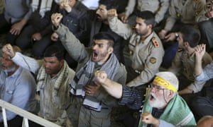 """Iranian worshippers chant """"death to Al Saud family"""" during a protest march in Tehran on Friday."""