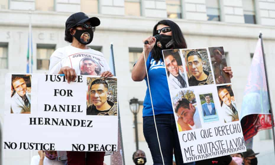 Family of Daniel Hernandez, who was killed by Los Angeles law enforcement, speak at a protest organized by Black Lives Matter.