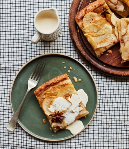 Tamal Ray's French style apple tart with pears and a rum and star anise glaze.