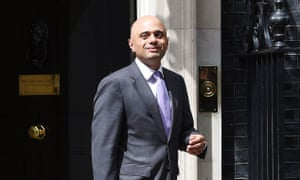 Sajid Javid leaves 10 Downing Street after his appointment as communities and local government secretary.