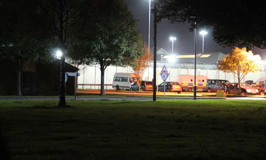 White security vans and trailers full of equipment belonging to the specially trained Tornado teams at HMP Long Lartin.