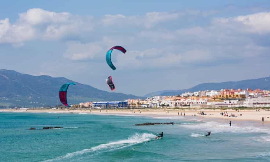 Kitesurfing off Playa de los Lances, Tarifa.