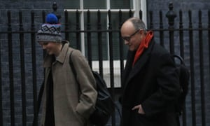 Dominic Cummings arriving at No 10 this morning, with his colleague Cleo Watson.