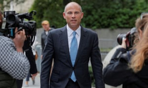 Attorney Michael Avenatti exits the US courthouse in Manhattan on 8 October 2019.