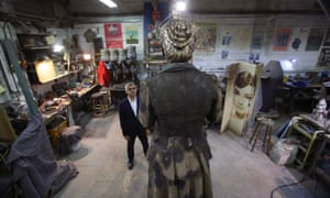 Before its installation in Parliament Square Sadiq Khan visited the AB Fine Art Foundry in east London to see the statue