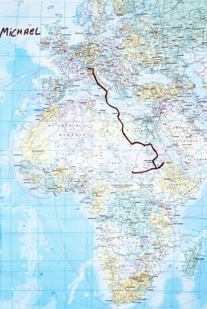 Map of the route from Africa to Italy of Michael Estifannos, 28, Eritrea.