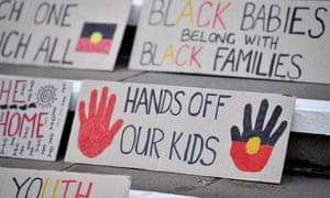 Handwritten signs for a march organised by Grandmothers Against Removals (GMAR) to mark Aboriginal and Torres Strait Islander Children's Day, Sydney, August 4, 2017.