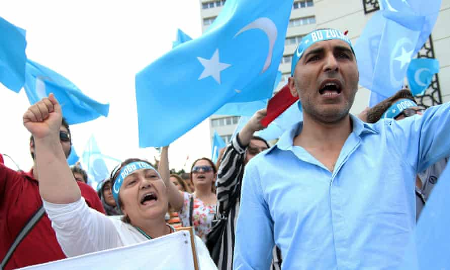 Protesters demonstrate in Ankara on Sunday against the Chinese government's policy towards Uighur Muslims, who have ties with Turkey.