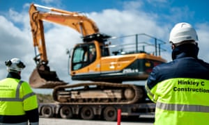Construction staff working on the £18bn nuclear power station at Hinkley Point