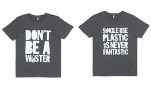 two grey t-shirts, one saying 'don't be a waster', the other 'single use plastic is never fantastic'