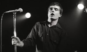 Joy Division singer Ian Curtis on stage in Rotterdam in January 1980.