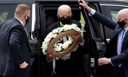 Joe Biden arrives to pay his respects to fallen service members on Memorial Day at Delaware Memorial Bridge Veteran's Memorial Park in Newcastle, Delaware.