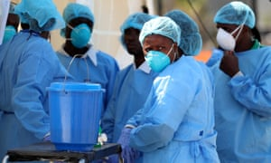 Medical staff at a cholera centre in Mozambique: