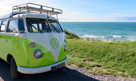 Noddy Windsor, the VW van, by the north devon coast