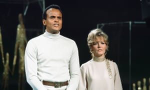 Harry Belafonte and Petula Clark during their controversial performance of On the Path of Glory in 1968.