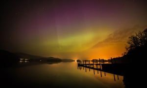 The northern lights over Derwentwater near Keswick in the Lake District.