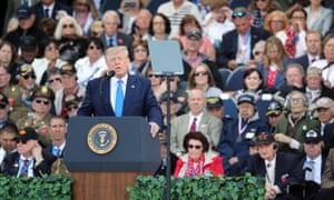 Donald Trump attends the commemoration ceremony of the 75th anniversary of the D-Day landings at Normandy American Cemetery and Memorial in Colleville-sur-mer, France, on Thursday.