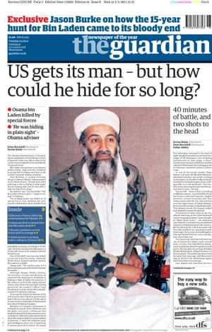 Guardian front page: 'US gets its man –but how could he hide for so long?'