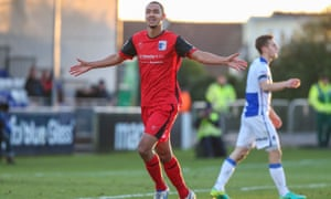 Barrow's Byron Harrison celebrates his winner against Bristol Rovers