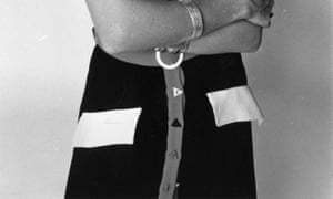 Detail of a 1970 outfit designed by British designer Ossie Clark