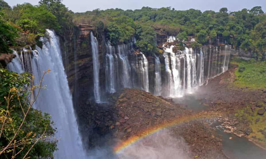 Kalandula Falls near Kalandula, Malanje Province in Angola. Formerly known as the Duque de Braganca Falls. Showing rainbow in front of the falls.