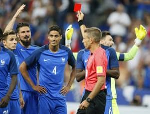 Raphael Varane sees the red.