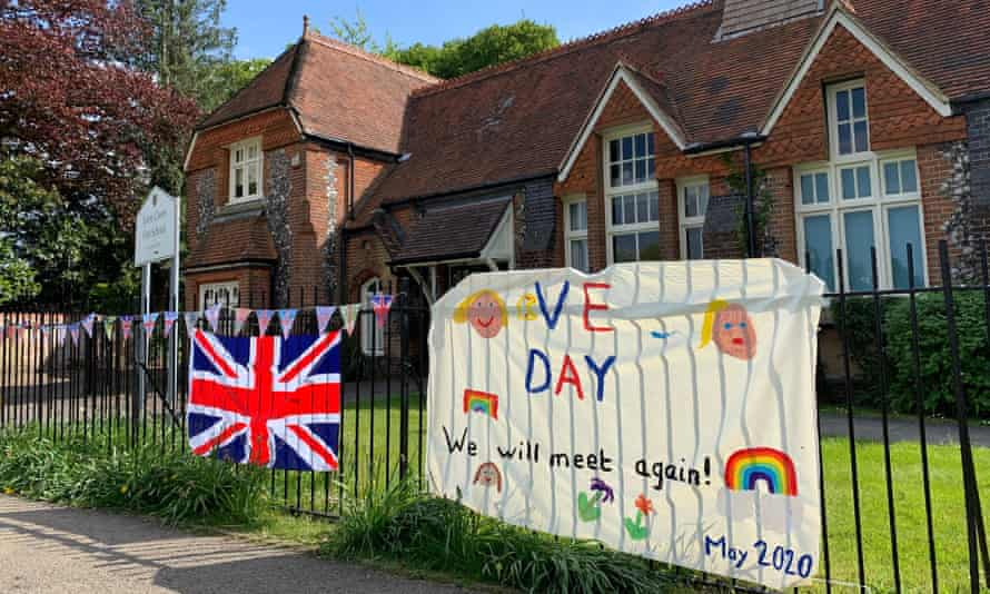 A VE Day banner at Tylers Green first school near High Wycombe