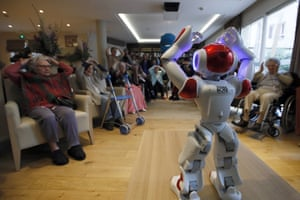 Paris, FranceA Zora robot performs to encourage elderly people in care home. The Zora robot will promote emotional well-being by helping elderly people for exercises and manage stress through interactive technology