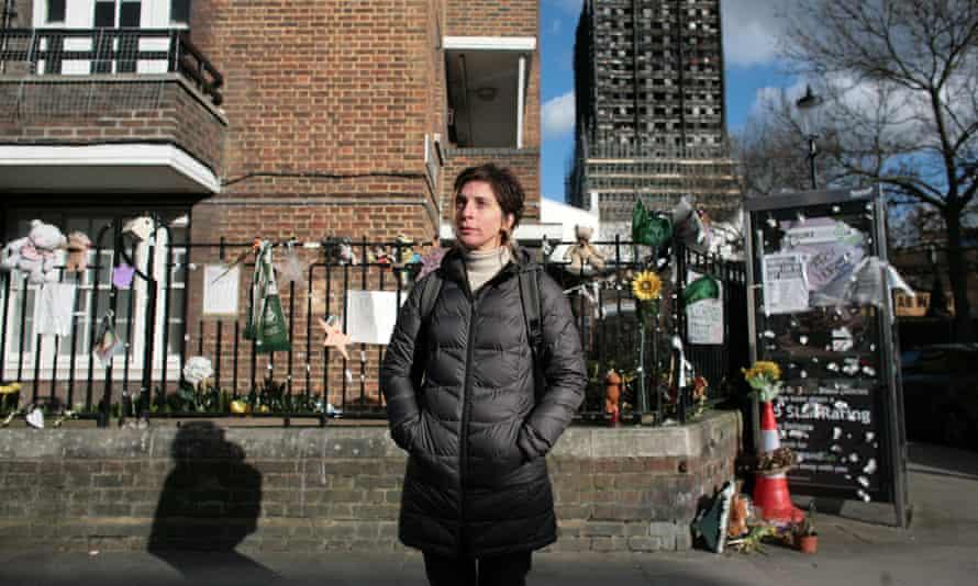 Leilani Farha outside Grenfell Tower