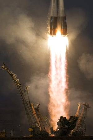 The Russian Soyuz TMA-19M rocket is launched