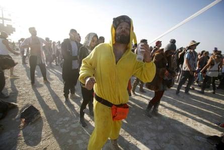 Dan Drahos dances at the Robot Heart during the morning hours at Burning Man.