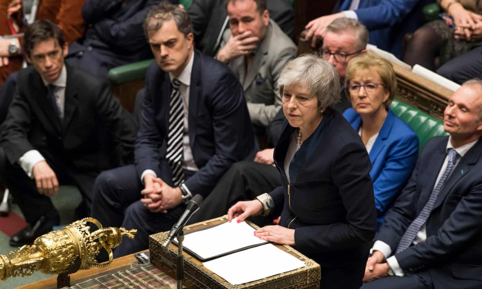 Theresa May speaking in the House of Commons after losing a vote on her Brexit deal on Tuesday, she now faces a vote of no confidence proposed by Labour leader Jeremy Corbyn.