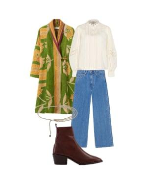 Jo Jones, fashion editor: 'Add some colour with a recycled sari jacket.' Kantha coat, £245, toa.st. Blouse, £35, riverisland.com. High-waisted jeans, £255, ganni.com. Chain belt, £14.99, hm.com. Boots, £40, office.co.uk