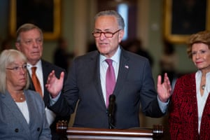 Flanked by senator Patty Murray, left, senator Dick Durbin, second from left, and senator Debbie Stabenow, right, Senate majority leader Chuck Schumer offers remarks during a press conference.