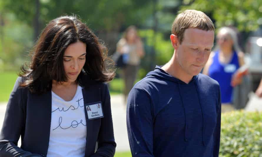 Sheryl Sandberg and Mark Zuckerberg at the Sun Valley conference in Idaho, on 8 Jul 2021.