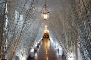 The hallway of the east wing is lined with white, frosted branches